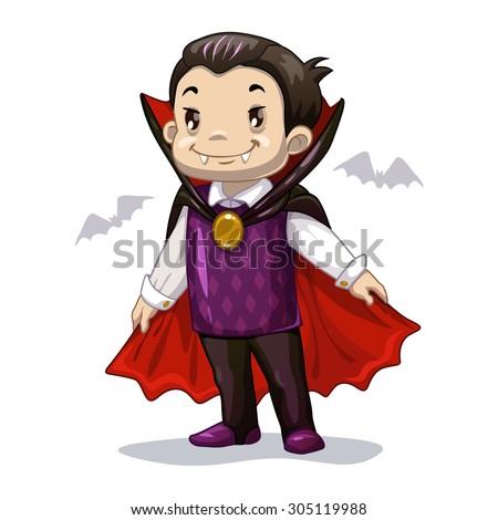 Funny cartoon little vampire, boy wearing Halloween costume, vector illustration - stock vector