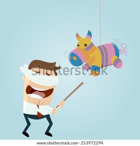 funny cartoon man and pinata horse - stock vector