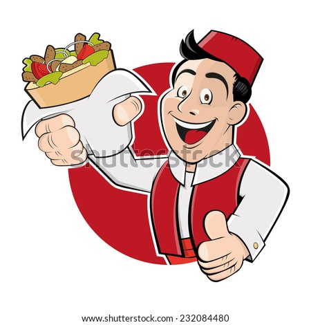 funny cartoon man in a badge is serving kebab doner - stock vector