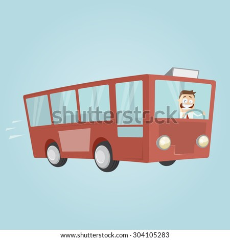 funny cartoon man is driving a bus