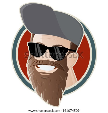 Hipster Fashion Bearded Man Portrait In Sungles Hand Drawn Vector Ilration