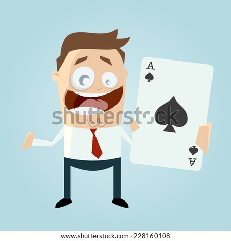 funny cartoon man with big ace