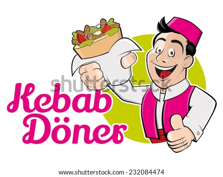 funny cartoon man with doner and german text that means kebab doner - stock vector