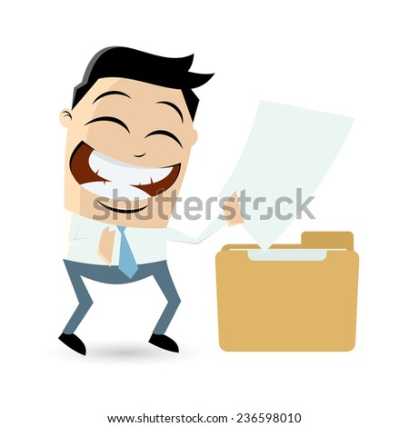 funny cartoon man with file - stock vector