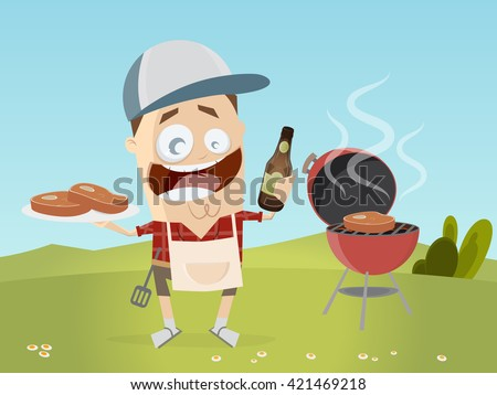 funny cartoon man with grill steaks and beer