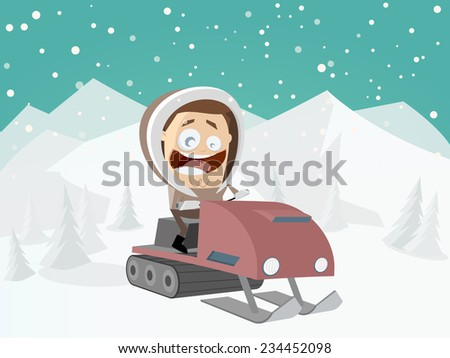 funny cartoon man with snowmobile and winter background - stock vector