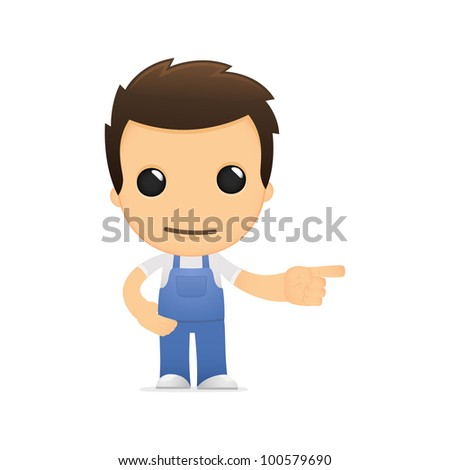 funny cartoon mechanic in various poses for use in advertising, presentations, brochures, blogs, documents and forms, etc.