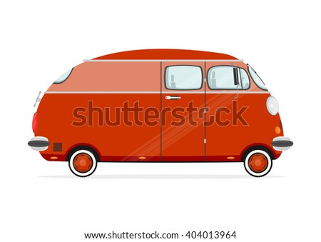 Funny cartoon minivan on a white background. Flat vector