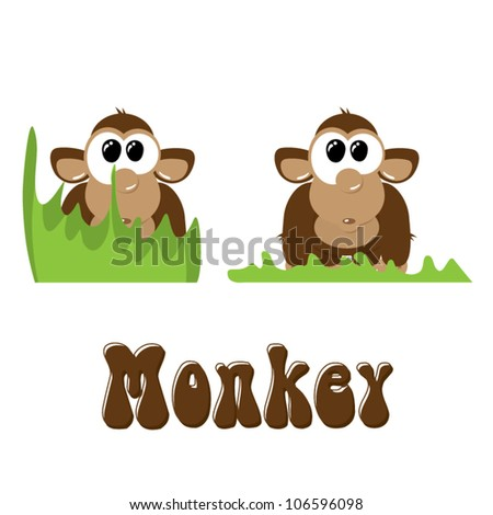 Funny cartoon monkey in the grass, vector illustration