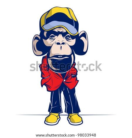 funny cartoon monkey mascot - stock vector