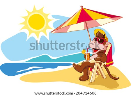 Funny cartoon monkey relaxing on beach chair by sea in summer vacation. Vector illustration - stock vector