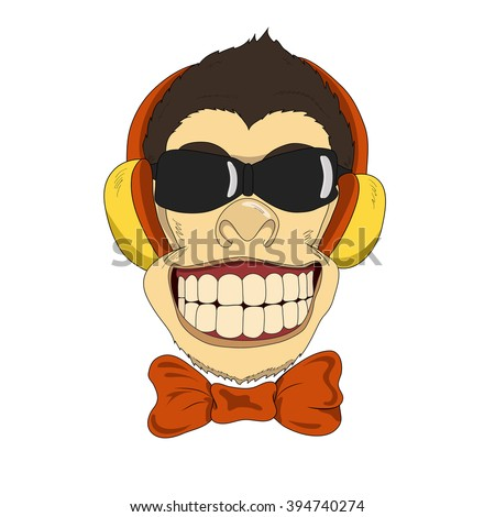 Funny cartoon monkey with headphones and bow-tie.