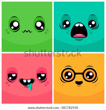 Funny Cartoon Monster Faces. Colorful Vector Illustration