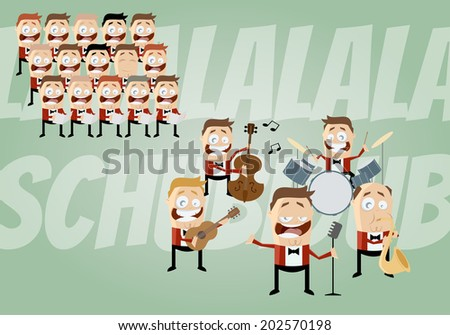 funny cartoon music band and choir - stock vector
