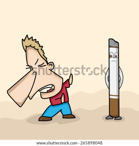 Funny cartoon of a man avoiding cigarette for No Smoking Day concept. - stock vector