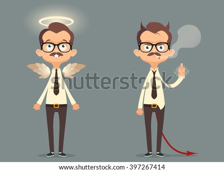 Funny Cartoon Office Workers. Good and Bad Employees. Vector Illustration - stock vector