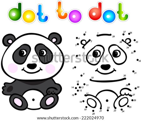 Funny cartoon panda dot to dot. Vector illustration for child - stock vector