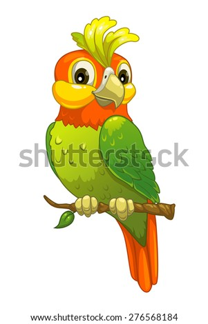 Funny cartoon parrot, isolated vector on white - stock vector
