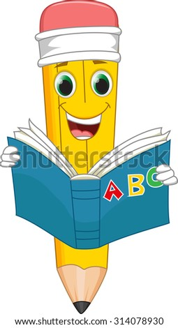 funny cartoon pencil reading a book - stock vector