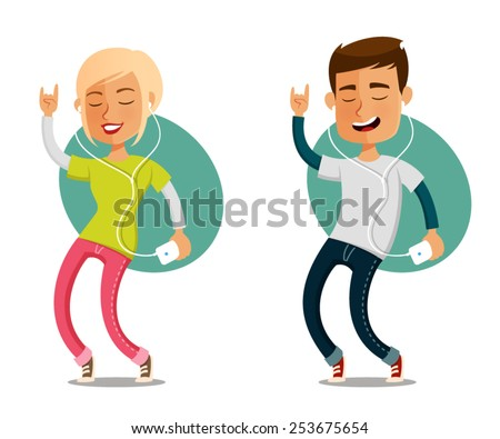 funny cartoon people dancing to the music from their cell phone - stock vector