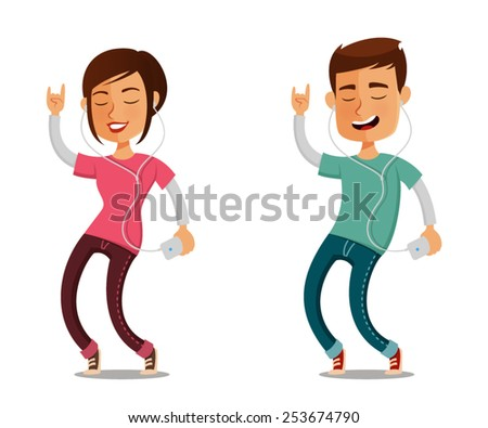 funny cartoon people listening to music from their cell phone - stock vector