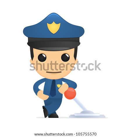 funny cartoon policeman in various poses for use in advertising, presentations, brochures, blogs, documents and forms, etc. - stock vector