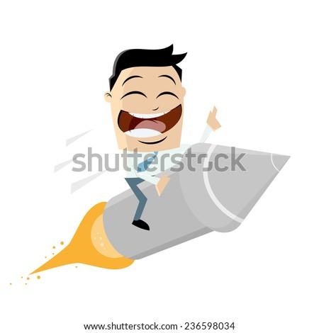 funny cartoon riding on a rocket - stock vector