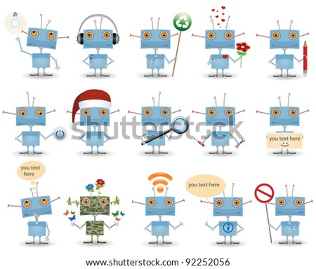 Funny cartoon robot set isolated on white background - stock vector