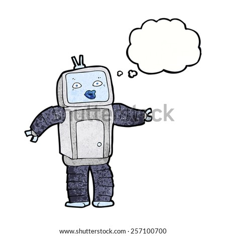 funny cartoon robot with thought bubble - stock vector