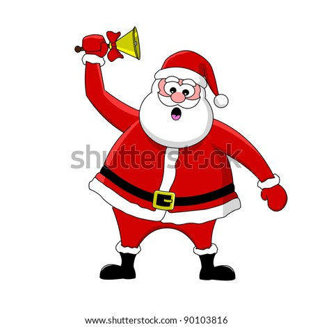 Funny Cartoon Santa Claus And Bell Stock Vector