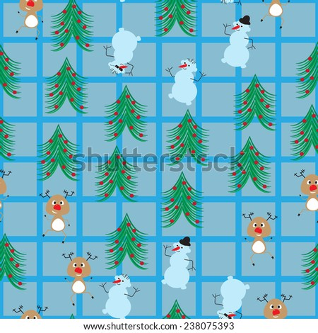 funny cartoon Santa's reindeer and snowmen in a Christmas forest on a plaid background.seamless pattern