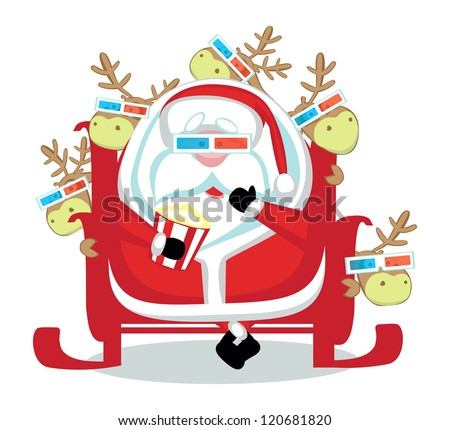 Funny cartoon Santa with reindeers in 3d glasses watching scary movie