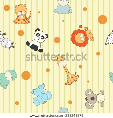 Funny cartoon seamless pattern with animals - stock vector