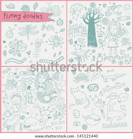 Funny cartoon set in vector. Flower, ring, fishes, princess, diver, squid, crab, frog, worm, caterpillar, spider, butterfly, hedgehog, cat, dog, rabbit, whale, octopus, mermaid and others - stock vector