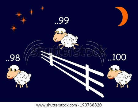 Funny cartoon sheep jumping through the fence. Vector-art illustration - stock vector