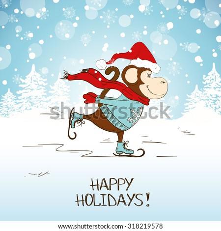 Funny cartoon skating monkey. Symbol of the New Year 2016. New Year and Christmas greeting card. - stock vector