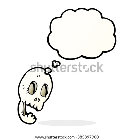 funny cartoon skull with thought bubble
