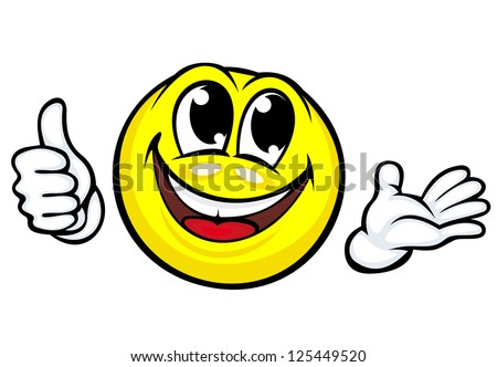 Funny cartoon smile makes good or ok gesture. Jpeg version also available in gallery - stock vector
