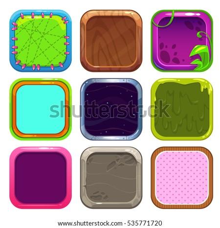 Funny Cartoon Square Frames App Icons Stock Photo (Photo, Vector ...