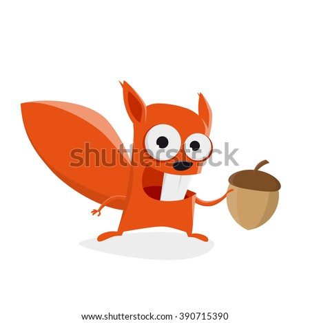 funny cartoon squirrel holding a nut