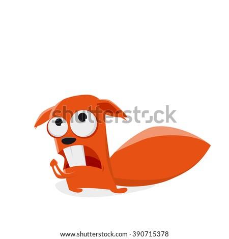 funny cartoon squirrel is praying - stock vector