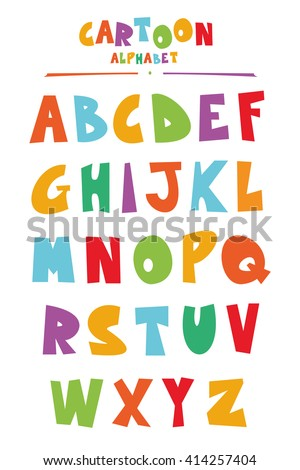 Funny cartoon style ABC for kids - stock vector