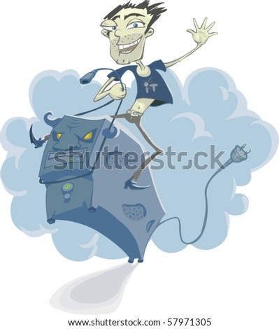 Funny cartoon System Administrator (IT Specialist) galloped on the maddened computer as a rodeo - stock vector