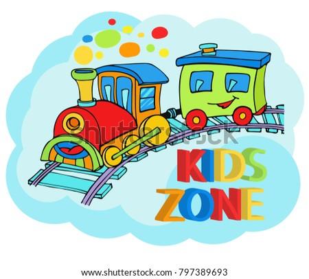 Funny Cartoon Train Truck Children Holiday Stock Vector 797389693 ...