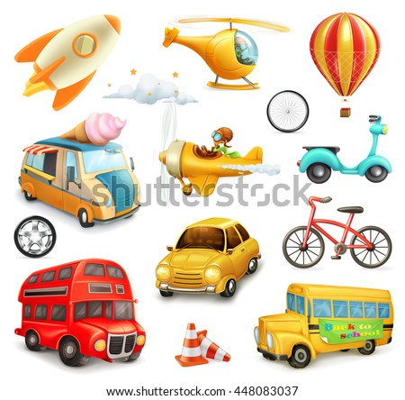 Funny cartoon transportation, cars and airplanes set of vector icons - stock vector