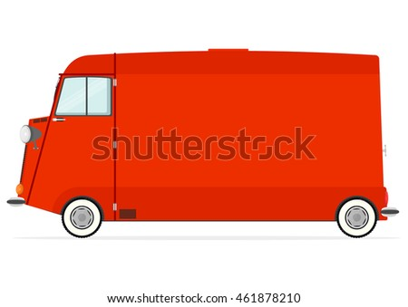 Funny cartoon van with copy space on a white background. Flat vector