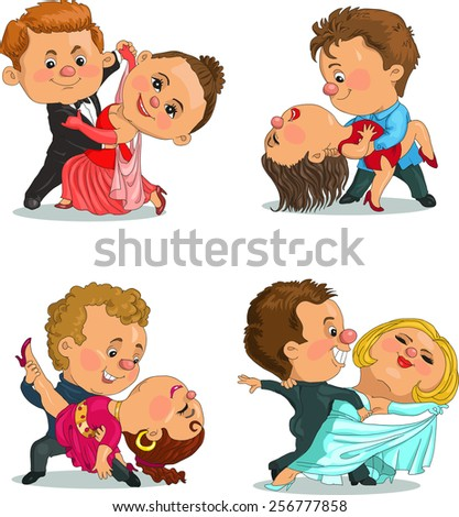 Funny cartoon. Vector illustration. funny couple dancing the waltz and tango. Isolated objects. - stock vector