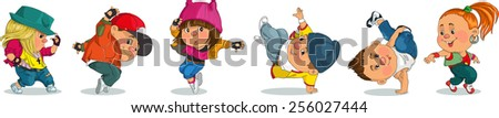 Funny cartoon. Vector illustration. Group of cheerful teenagers dancing Hip-Hop. Isolated objects. - stock vector