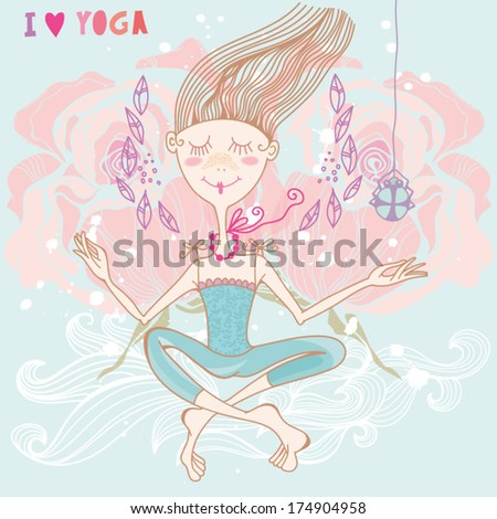 "Funny cartoon vector illustration with cute girl ""I love Yoga"". - stock vector"