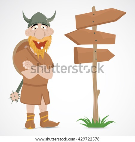 Funny cartoon viking with wooden road sign of directions - stock vector